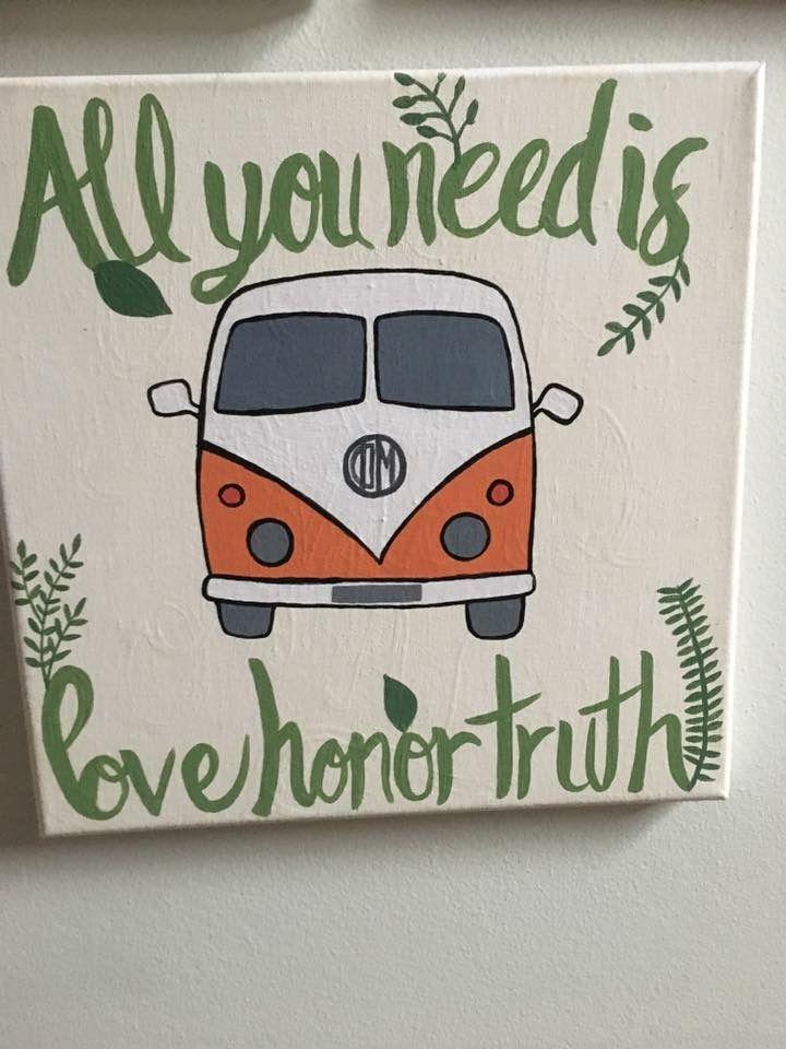 Love Honor Truth Hippie Van Canvas by Phi Mu sister