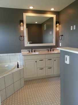 White Cabinets Tile Gray Walls