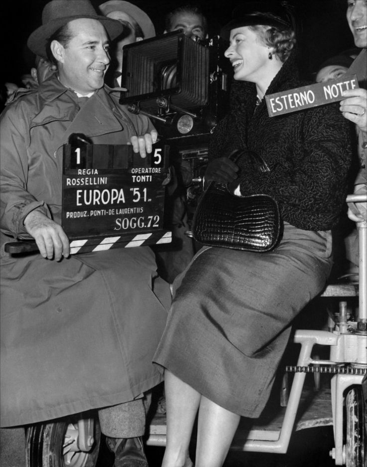 Ingrid Bergman and Roberto Rosselini on the movie set of Europa '51 by Roberto Rossellini