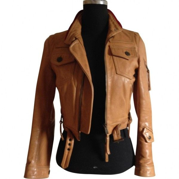 Pre-owned dsquared2 Leather Jacket (975 CAD) ❤ liked on Polyvore featuring outerwear, jackets, other, women clothing jackets, dsquared2, brown jacket, short leather jacket, dsquared2 jacket and real leather jackets