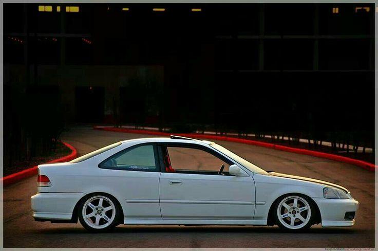 White Honda Civic coupe, ej8, NH-0, championship white