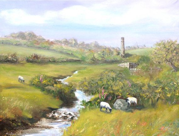 #Landscape Oil Print - A4 - Old Mine on the Moor, #Cornwall, 5% of profits to Cornwall Air Ambulance Trust