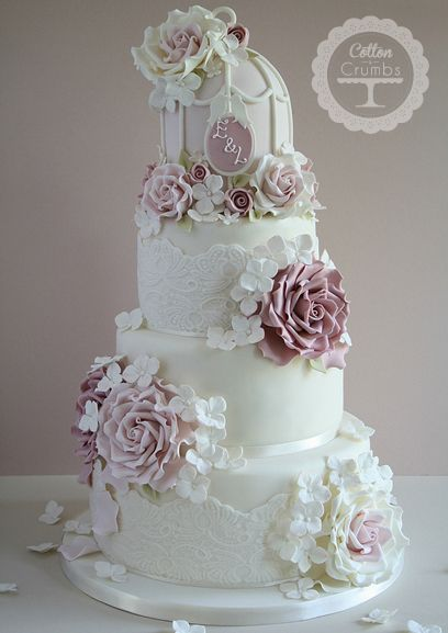 Vintage Rose & Birdcage Wedding Cake from Cotton and Crumbs.