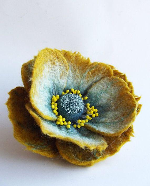 Felted Flower Brooch Hair Clip Wool Felt by ShishLOOKdesign