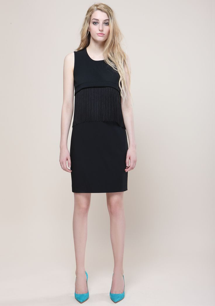 Black dress with fringes Outfit proudly made in Italy