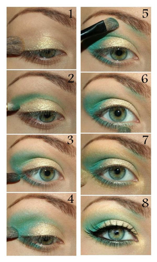 Maquillaje con sombras color dorado y verde