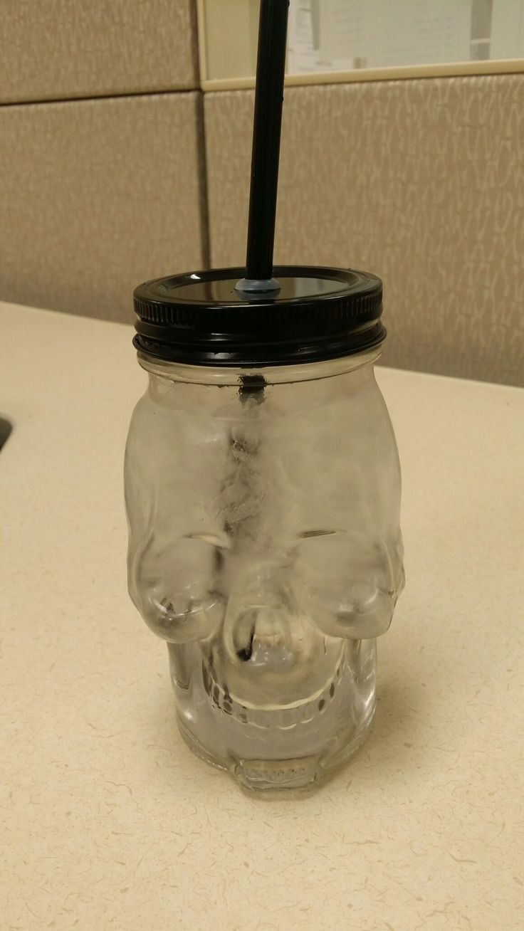 Skull glass mason jar w/straw @ Michaels craft store