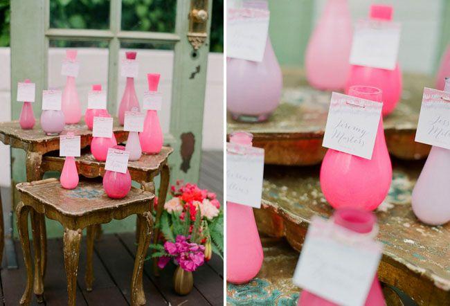 Bold & Playful Summer Wedding Inspiration: Ombre vase escort cards