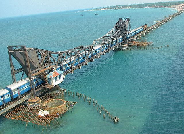 """The Pamban Bridge is one type of cantilever bridge connects Rameswaram of Pamban Island to Tamil Nadu, India. It was first Sea Bridge and the second longest sea bridge in India (after Bandra Worli Sea Link). The bridge is located at the world's second """"highly corrosive environment"""" and cyclone-prone high wind velocity zone."""