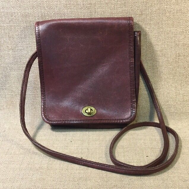 Vintage Coach Maroon Leather Messenger Style Purse Hobo Bag #492-4302 #Coach #Hobo