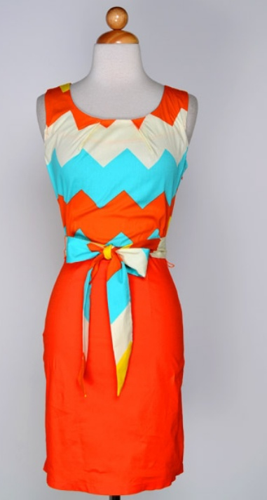 Orange Chevron Classy Dress