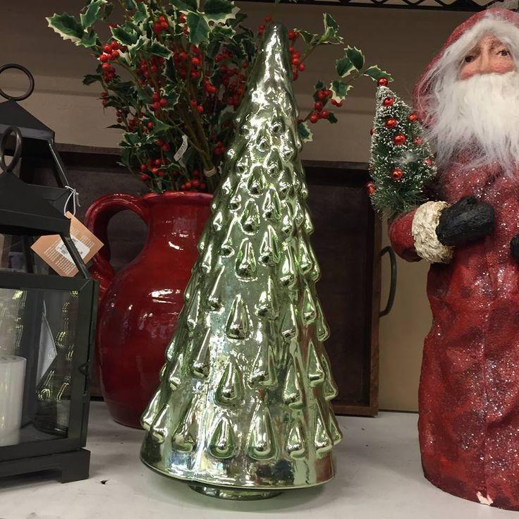 New pottery barn green mercury glass tree christmas