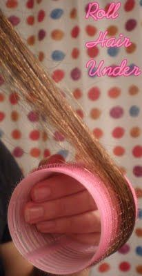 Take sections as wide as your roller, and spray with hair spray or a volumizing product.    roll under hair, all the way to roots.      Spray once more and attach clip to hold roller.      Once all of hair is rolled, do a quick blow dry over head to add heat and set curls.      Use this time to do makeup     After 20 minutes or so take out rollers, sticking fingers inside the roller and gently pulling down makes roller removal easier.     Run fingers through hair and set with spray.
