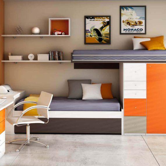 Las 25 mejores ideas sobre habitaciones con literas en - Camas plegables horizontales ...