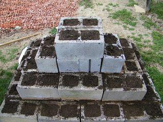 Cinder block strawberry pyramid