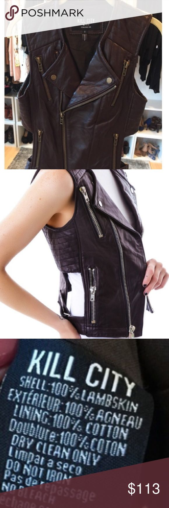 *Reduced* KILL CITY Moto lamb leather zipper vest. Kill city zipper 💯% lamb leather cutout vest. This super stylish leather motorcycle vest features a leather collar, zipper pockets, piping and ribbing throughout and cutout windows along the hips.  It's perfect for turning a casual look edgy by layering .........or rock it metal style, goth, biker, punk and even goth.   Fully lined. KILL CITY Jackets & Coats Vests