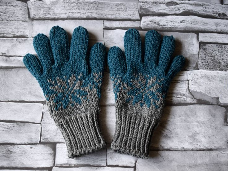 Hand knit gray and petrol blue gloves with snowflake, childrens or adult merino wool gloves, mother son glove set, winter gloves