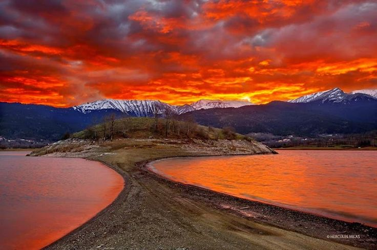 Xaris Xaris - Sunset at Plastiras lake, Karditsa, Thessaly, Greece.