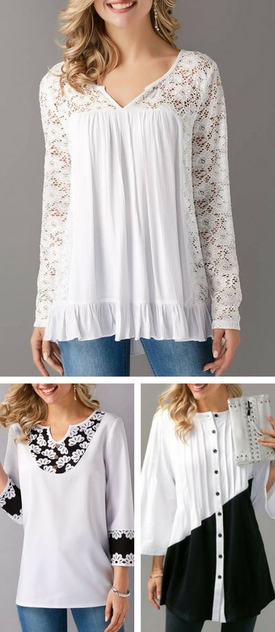 Top, cute top, casual top, lace top, white top, top for women, free shipping worldwide at Rosewe.com, check it out.