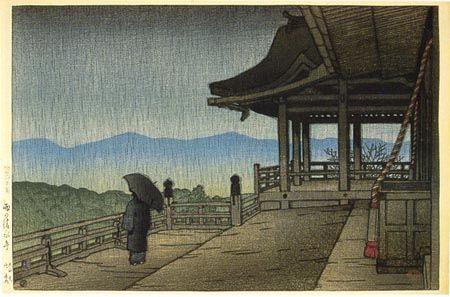 hanga gallery . . . torii gallery: Rain at Kiyomizu Temple by Kawase Hasui