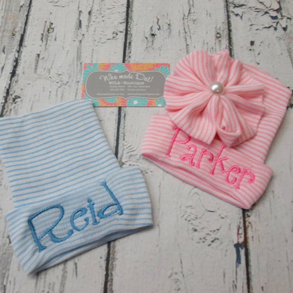 Sweet Hospital Newborn Hat Personalized newborn pink and blue hats with matching fonts for twins! Please leave your choice of first name only, or last name only info during checkout. I can only add first and middle names if the first or last name is very short, such as Ava or Mia... The name size is approximately 3 inches long and 1.25 inches wide from top to bottom of the first letter. This listing is for MATCHING font on both hats...one pink and one blue stripe hat side bow on pink and…