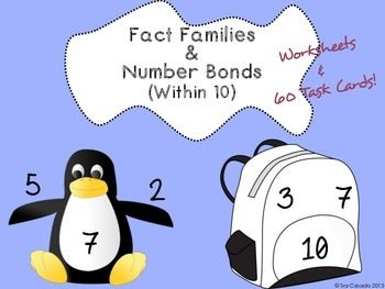 Math Fact Families and Number Bonds up to 10 (1st Grade) English ...