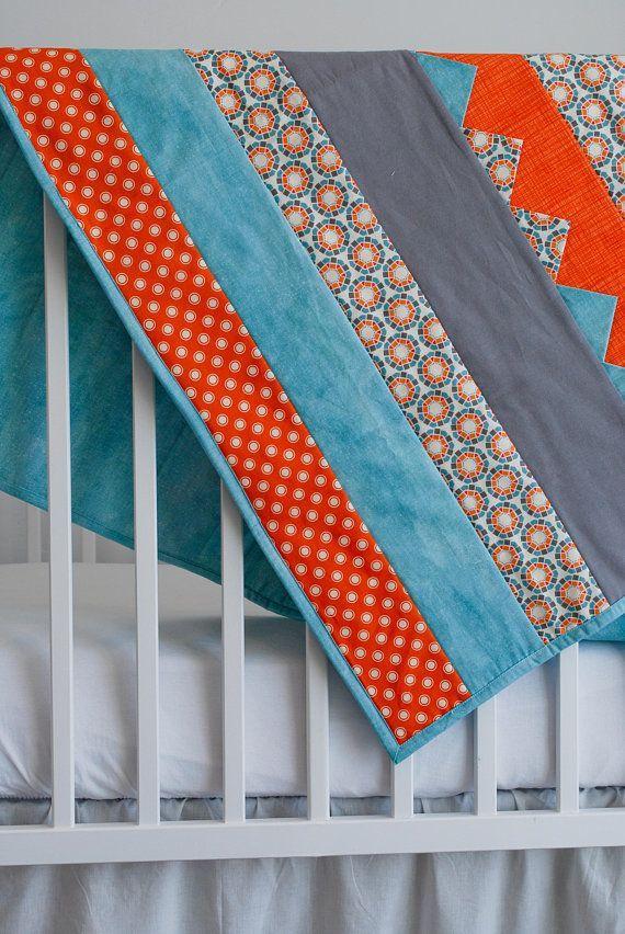Baby Blanket Orange Blue And Gray Newborn Baby Quilt Etsy Baby Quilts Quilts Baby Girl Quilts