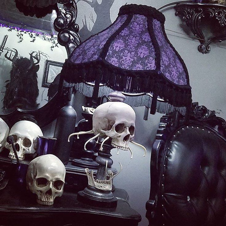 """Home Sweet Hell  (@homesweethell) no Instagram: """" details  Custom Bordello Bones lamp made by @aureliovoltaire \\ Chaise and vanity by…"""""""