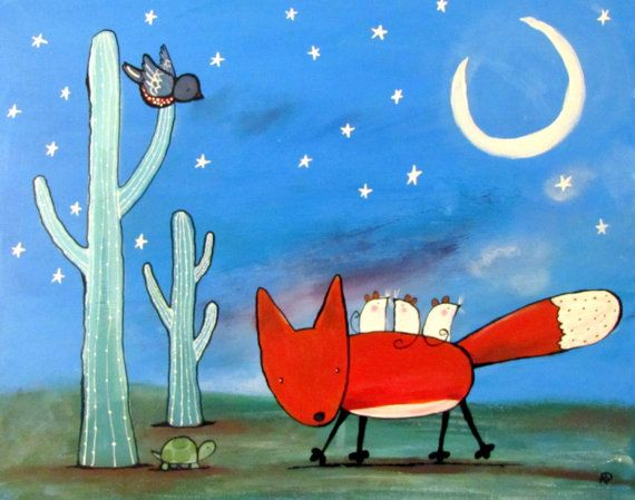The moon is out, its time to play! Come join these whimsical, fun animals as they dance and have fun in the desert night. * Original painting Desert whimsical fox, nursery decor.