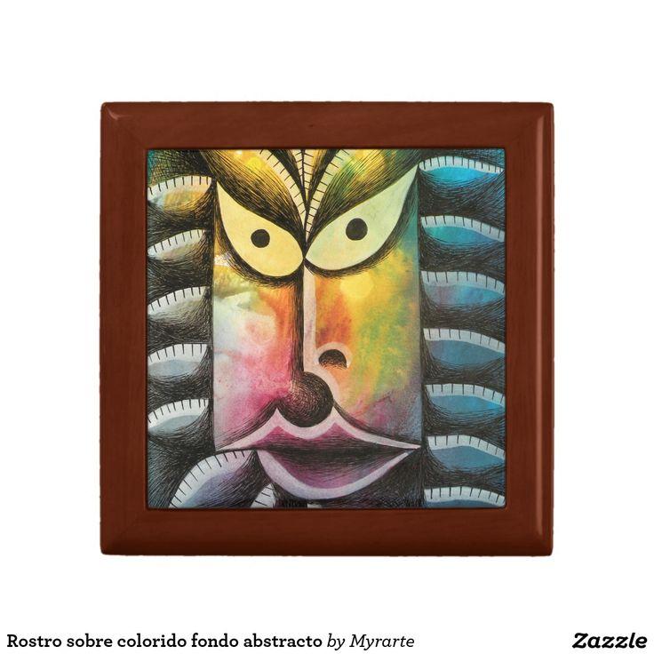 Rostro sobre colorido fondo abstracto jewelry box. Joyero, Jewelry Box. Producto disponible en tienda Zazzle. Product available in Zazzle store. Regalos, Gifts. #Joyero #Jewelry #box