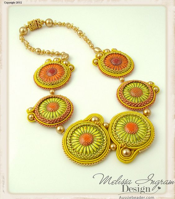 sunflower! soutache necklace :)