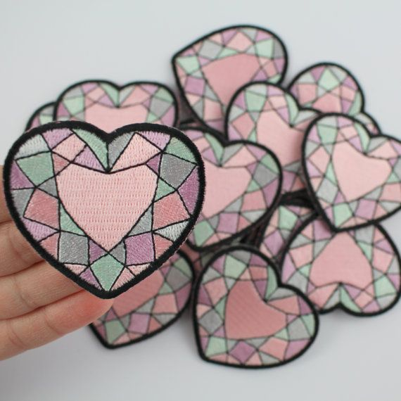 Heart Gemstone Embroidered Patch / Iron-On by WildflowerandCompany
