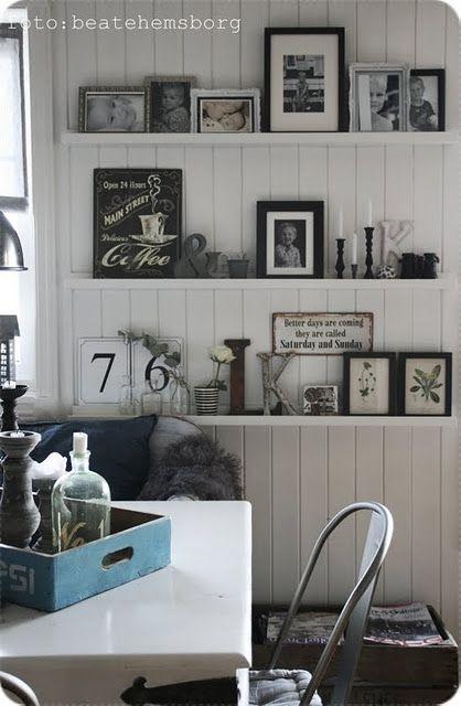add in framed vintage postcards - pretty display!