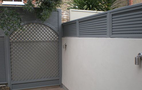soft slate grey garden fencing and soft white walls - The Garden Trellis Company - Products