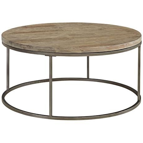 Alana Steel and Acacia Wood Top Round Coffee Table @lampsplus #sponsored