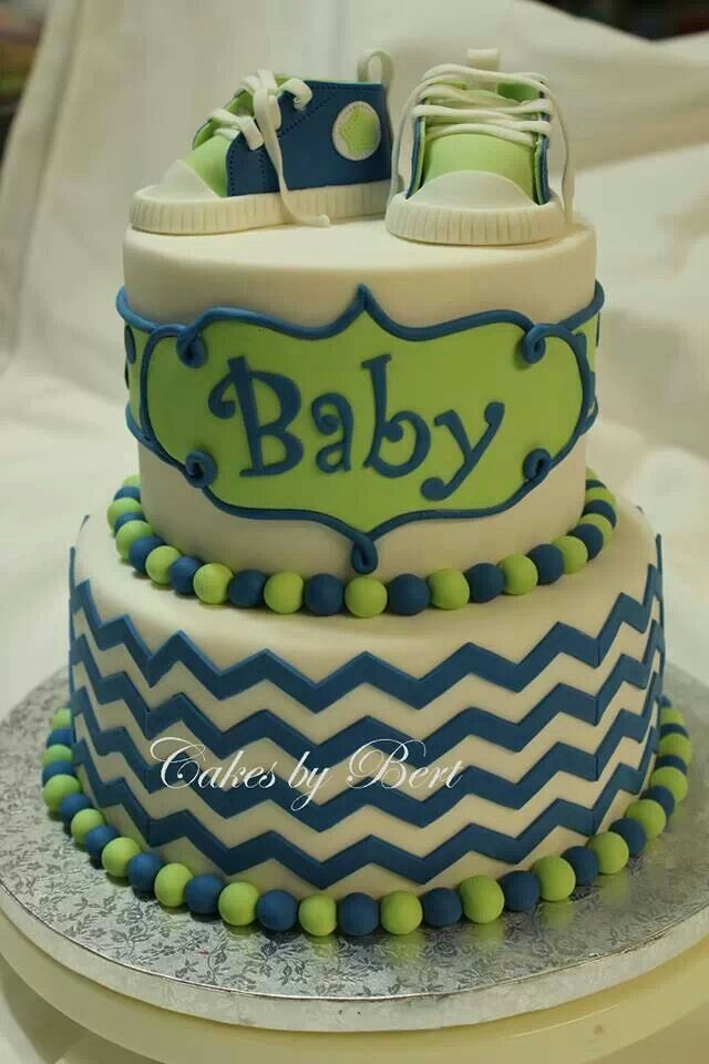 navy blue and green baby shower cakes | Green blue chevron