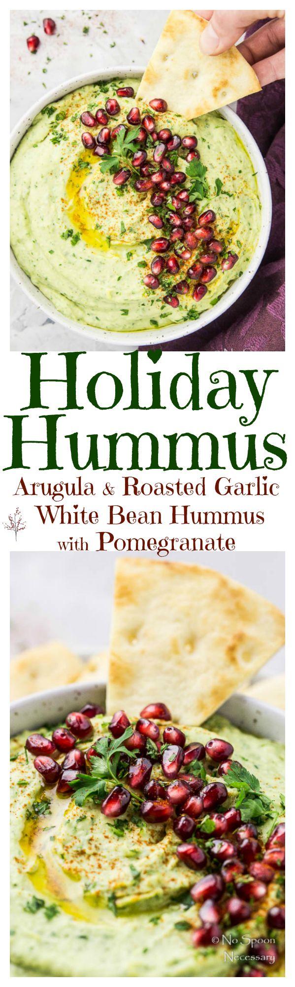 Holiday Hummus {Arugula & Roasted Garlic White Bean Hummus with Pomegranate}