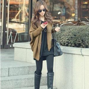 Mode coréenne Plus Size Pull Femme Loose Women Casual Automne Hiver Cardigan long manches Batwing femmes Châle Khaki - Achat / Vente gilet - cardigan - Soldes * Cdiscount
