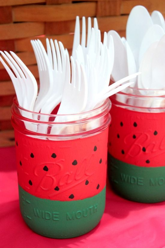 #contest Watermelon painted mason jars - cute idea for a summer party! #ad