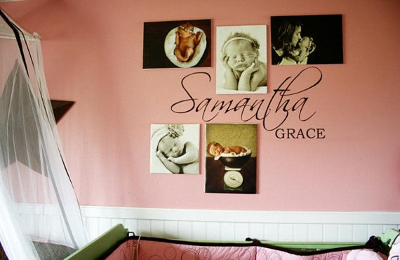 Nursery  Wall Decal Personalized Script First and by vinylizeit, $25.00
