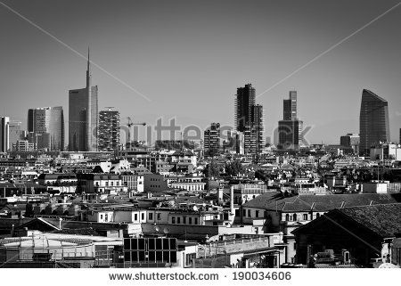 Milan, Lombardy, Italy - april 24 2014: Milan city skyline Unicredit Bank skyscraper and financial district piazza Gae Aulenti, view from Duomo roof terrace - stock photo