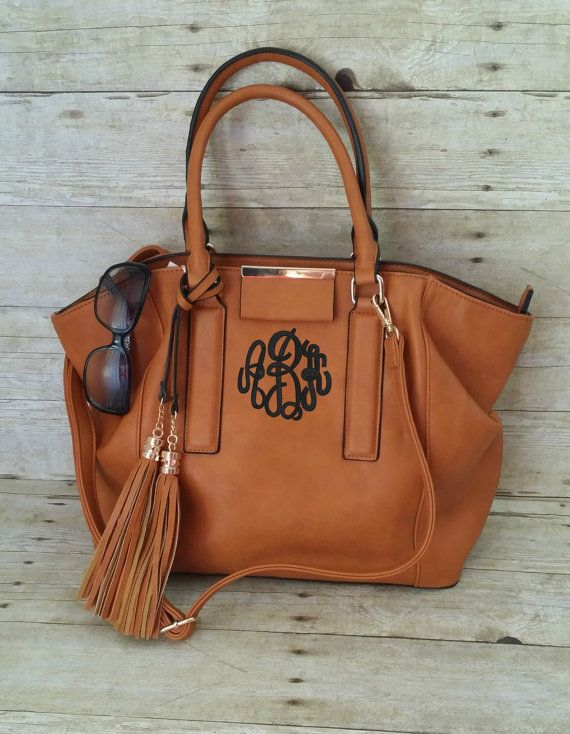 Monogrammed Purse Medium Brown Satchel Purse by MaBrownMercantile