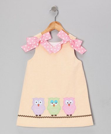 Take a look at this Melon Seersucker Hooty A-Line Dress - Girls by Secret Wishes on #zulily today!