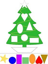 Christmas Tree Craft   Learn Shapes   Color Template   Preschool Printable Activities
