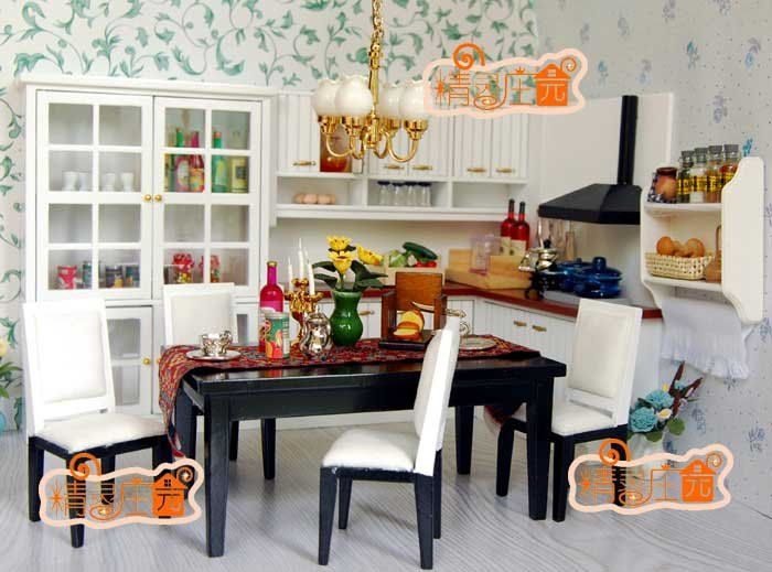 Delightful 1 12 Scale Dollhouse Furniture #15: [1:12 Scale Doll House Furniture Miniature] White And Black Modern Kitchen  Set