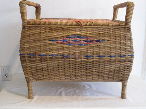 1950s footed sewing basket.