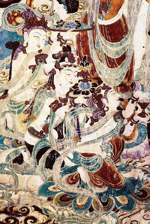 Details of painting of the meeting of Manjusri and Vimalakirti. Cave 159. Magao Caves at Dunhuang, China