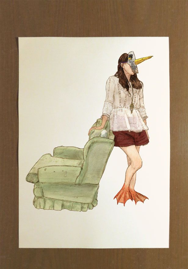 This is a Signed Limited Edition Illustration Print with an Edition of Twenty.  Artist: Benk Title: 'Masks: Desired Departure' Size: 30cm x 42cm  Take a seat on this comfy green sofa and enjoy your new illustration.