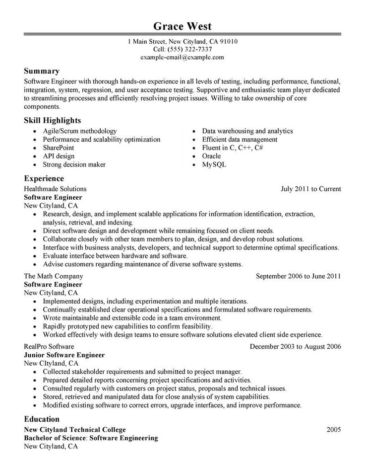 Más de 25 ideas fantásticas sobre Best Resume Examples en - example software engineer resume