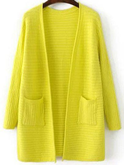 Manteau pull côtelé avec poches et fentes latérales  - jaune